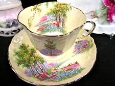 AYNSLEY TEA CUP AND SAUCER YELLOW MEADOWS FLORAL PATTERN TEACUP TEXTURED