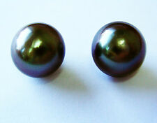 10.2mm TAHITIAN BLACK PEARLS PAIR 100% UNTREATED UNDRILLED+CERTIFICATE AVAILABLE
