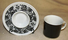 sango aquarius la scala black and white and gray cup and saucer japan excellent