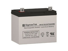 12V 75Ah Battery By SigmasTek - 24 BCI Group Size - Replaces: UB12750, NP75-12