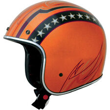 CASCO MOTO JET VINTAGE ORANGE TIPO BONANZA OMOLOGATO IT HARLEY DAVIDSON CUSTOM
