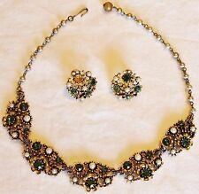 Antique Vintage Necklace Earrings signed LISNER Green Crystals and Pearls
