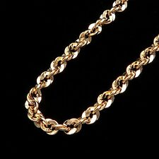"18"" Rope Chain 14k Solid Yellow Gold Necklace Hollow Irid Design 4mm Thick *RARE"