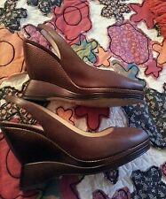 """Preowned Cole Haan Nike Air """"Amelia Sling"""" Wedge in Brown Leather Size 8.5"""