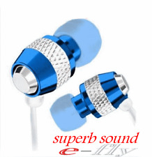 BLUE In-Ear Metal Earphones Headphones for iPhone  iPod iPad MP3 UK