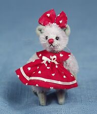 "DEB CANHAM ""VALENTINE MOUSE"" MINI MICE-MOHAIR IN RED VALENTINE DRESS AND BOW"