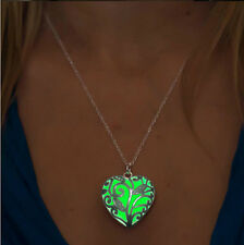 Magic Round heart floral Locket Glow In The Dark Pendant Necklace Jewelry Gift
