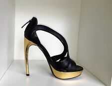 Alexander McQueen Black And Gold Shoes UK Size 4 EUR 37 Brand New Never Worn