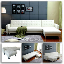 Leather Sectional Sofa Bed Sleeper Modern Couch Furniture Living Room Chaise New