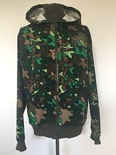 Adidas Safety Green Camo Print Hooded Zipped Track Jacket, Size Large