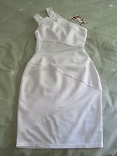 Dreamgirl White One Shoulder Mesh Cutout Knit Bodycon Club Dress NWT SZ: S