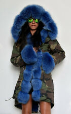 NEW Military/Army Cameo Parka Coat Fully Lined with 100% Blue Fox Fur MEDIUM