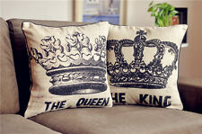 One Pair THE KING and THE QUEEN Linen Throw Pillow Case Cushion Cover