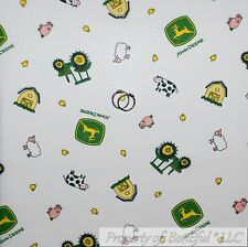 BonEful Fabric FQ Cotton Quilt White Yellow Green John Deere Baby Boy Nursery US