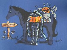 SLEEPY HOLLOW SPOOF - HEADLESS HORSEMAN READING MAP - LARGE - BLUE T-SHIRT B636