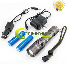 Cree 5000LM T6 XM-L LED Flashlight Torch Light +2X 18650 Battery+ Dual Charger