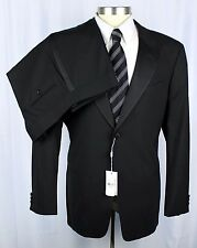 NWT ARMANI COLLEZIONI Soft Black Wool 1Btn Flat Front Tuxedo Suit 56 46 46R $2K