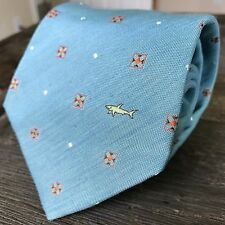 $195 Paul & Shark Yachting Linen & Silk Tie Teal Blue Green Logo Made in Italy