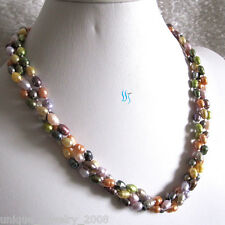 """20"""" 5-6mm Rice Multi Color 3Row Freshwater Pearl Necklace"""