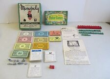 VINTAGE 1950's PARKER BROTHERS MONOPOLY GAME W/ WOODEN PIECES, MONEY, CARDS ETC
