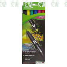 Tombow Brush Pen 6 Colour PRIMARY SET. Double Ended Artist & Craft Marker Pens
