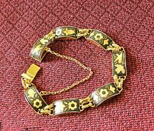 Vintage Spain Toledo Damascene Damasquino 24K Gold Platted Bracelet 7'' Long