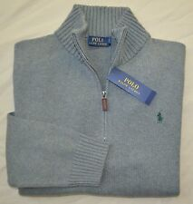 New 6XB 6XL BIG 6X POLO RALPH LAUREN Men half zip Sweater grey cotton jumper top