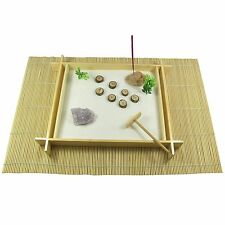 Large Wooden Zen Garden with Amethyst Crystal, Sand, Rake, Mat, Stone & Incense