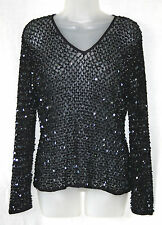 PRINCIPLES (LARGE / UK16-18 / EU44-46) PURPLE CROCHET SEQUIN V-NECK TOP - NEW