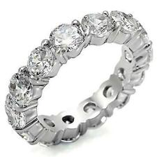 4 TCW 925 Sterling Silver Round CZ Eternity Wedding Anniversary Ring Band Size 9