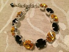 Swarovski Crystal Elements Black & Gold Bracelet 12mm Silver Cup Chain   New