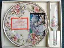 VINTAGE PORCELAIN ANDREA BY SADEK CAKE PLATE W/SERVER LILAC/PINK KAREN NOS