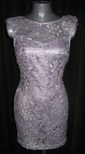 LIPSY Lilac & Silver Lace Overlay Cocktail Party Dress  - BNWT 14 RRP £70