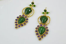 Ottoman Gems semi precious gem stone gold plated earrings Jade Agate handmade