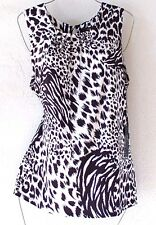 NEW~$120~BCBG~White & Black Leopard Print Blouse Tank Shirt Top~8/10/M/Medium