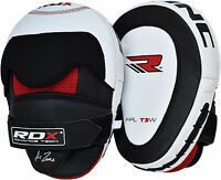 RDX Leather Focus Pads,Hook and Jab,MMA Boxing Kick Curved Mitt Gloves Thai Muay