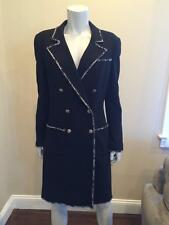 CHANEL 05C Black Wool Tweed Devil Wears Prada Double Breasted Coat Jacket 42