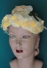 Vintage Yellow Hat 50s Silk Flowers