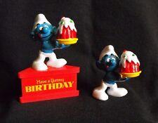 "Smurf Lot ~ Sockel ""Have a Yummy Birthday & Matching Figure ~ Peyo ~ Schleich"