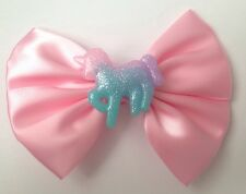 Pastel Pink Unicorn Glitter Hair Bow Fairy Kei Kawaii