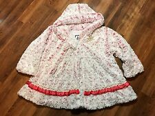 Girls Pink Faux Fur Floral Rose Valentines Hooded Coat Size 4 By Corky & Company
