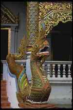 147057 Chiang Mai Wat Phra Singh Naga A4 Photo Print