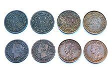 4 x 1 Cent CANADA 1859-1917, British Empire. Cuivre/ Copper