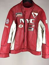 NYC All Borough Racing XL Red White Pelle Moda 100% Leather Motorcycle Jacket