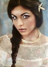 """WILLIAM OXER ORIGINAL CANVAS """"The Calling"""" Pretty brunette Woman Girl PAINTING"""