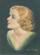 ORIGINAL VINTAGE 1938 DECO ILLUSTRATION ART PAINTING REDHEAD PINUP GIRL PORTRAIT