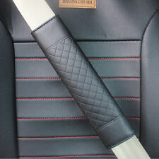 2x Car Safety Belt Covers Leather Seat Belt Shoulder Pad Adjust Black