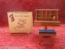 Hello Dolly Miniature Deskt with Bench Doll House Furiture #7301 Vintage