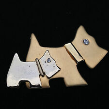 Vintage Gold Tone With Rhinestones Scottish Terriers Scottie Dogs Pin Brooch
