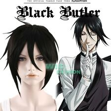 BLACK BUTLER Sebastian Michaelis Short Black Anime Cosplay Hair Wig